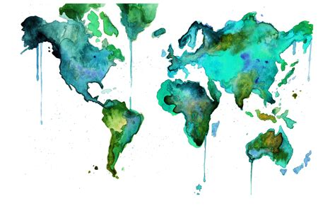 artistic world map watercolor wood home
