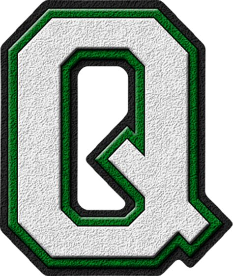 College With The Letter Q Presentation Alphabets White Green Varsity Letter Q