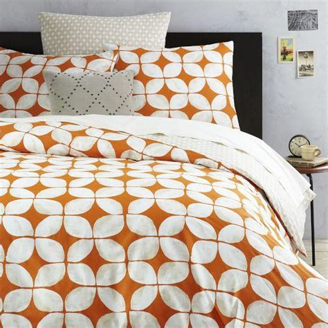 orange and white bedding leaf motif orange and white duvet cover and shams