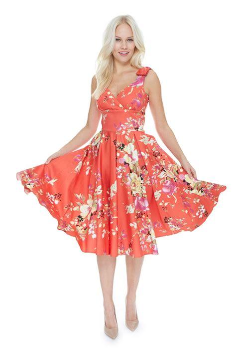 swing midi dress ascot seville coral swing dress view 5 the pretty
