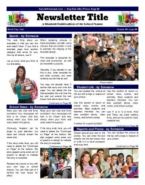 student newsletter templates free school front page template that emphasizes various areas