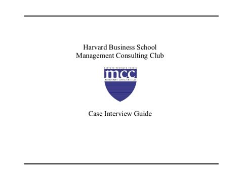 Harvard Mba Consulting Club by Hbs Study Guide