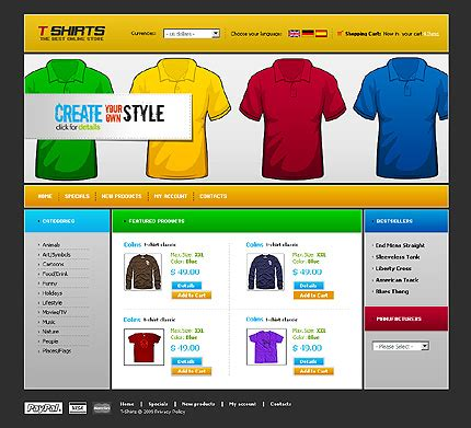 Template 22238 T Shirts Clothes Oscommerce Template Printing Ecommerce Website Template