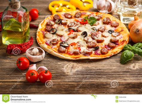 free table pizza pizza with ingredients stock photo image of baked black