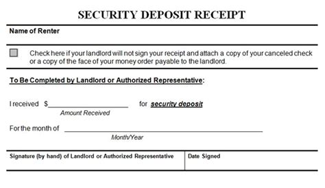rental security deposit receipt template security deposit receipt