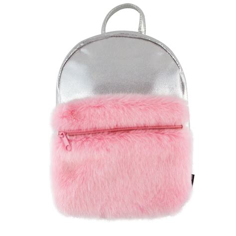 Mini Backpack With Pocket silver shimmer mini backpack with faux fur pocket