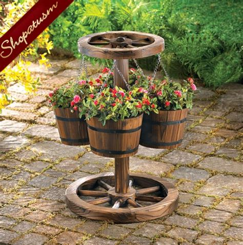 Country Planters by Rustic Country Charm Wood Wagon Wheel Garden Planter