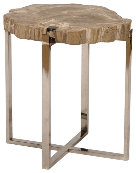 palecek sliced petrified wood accent table large modern