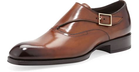light brown monk shoes lyst tom ford edward singlemonk shoe in brown for