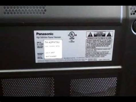 Ac Panasonic Plasma plasma panasonic mod th 42px75u no power