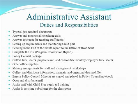 Administrative Assistant Responsibilities by Hancock County Early Start Start Pre K Programs Ppt
