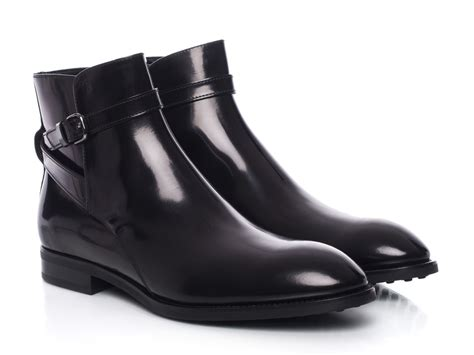 tod s dress ankle jodhpur boots in black shiny calf