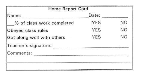 daily report card adhd template home report card