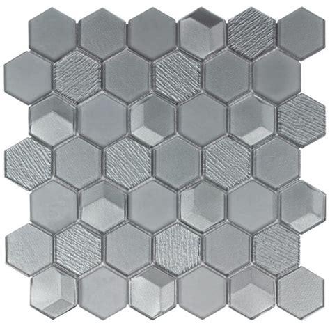 Glass mosaic tile hexagon gray mineral tiles
