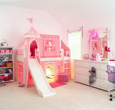 kids bed pink princess castle bed with slide by maxtrix kids 370