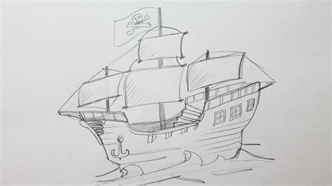 pirate boat drawing easy how to draw a pirate ship youtube