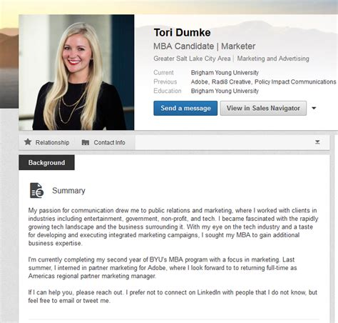 Mba Marketing Profiles by Linkedin Summary Exles Mba Students