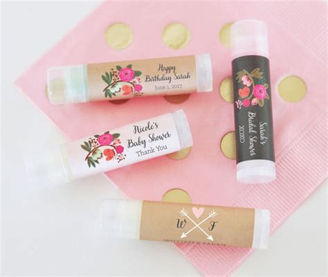 Lip Balm Giveaways - rustic baby shower favors floral baby shower lip balm favors