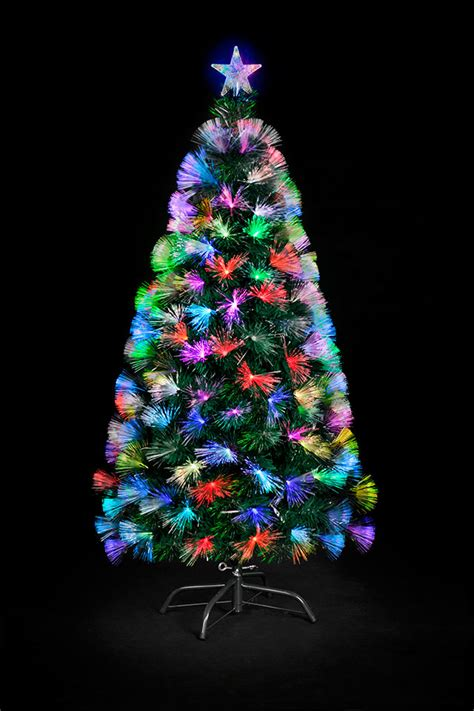 christmas trees and lights 3ft fibre optic colour burst