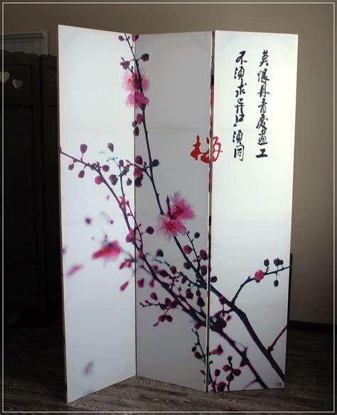 bilder paravent 3 tlg paravent mit kirschbl 252 ten und schriftzeichen japan