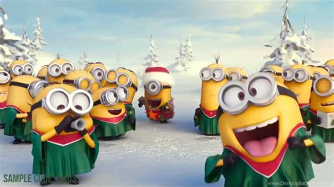 minions wishing merry christmas   logo    desktop background