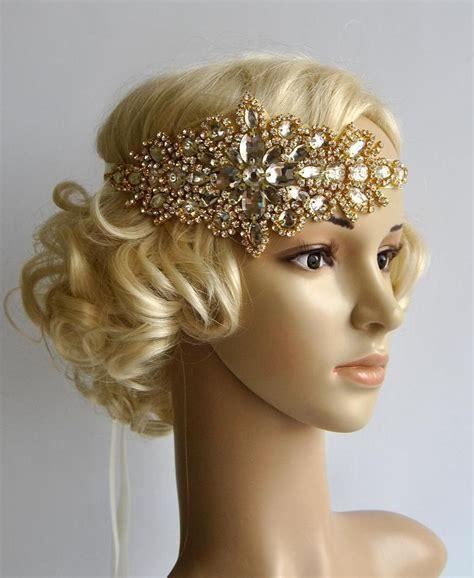 1920 s flapper tutorial diy vintage inspired headband gold glamour rhinestone flapper gatsby headband wedding