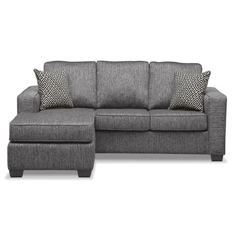 Sleeper Sofa With Chaise Lounge Sterling Innerspring Sleeper Sofa With Chaise Charcoal American Signature Furniture