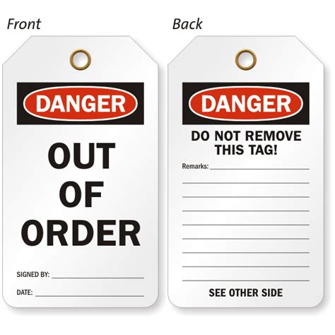 order tags out of service tags equipment out of service tags