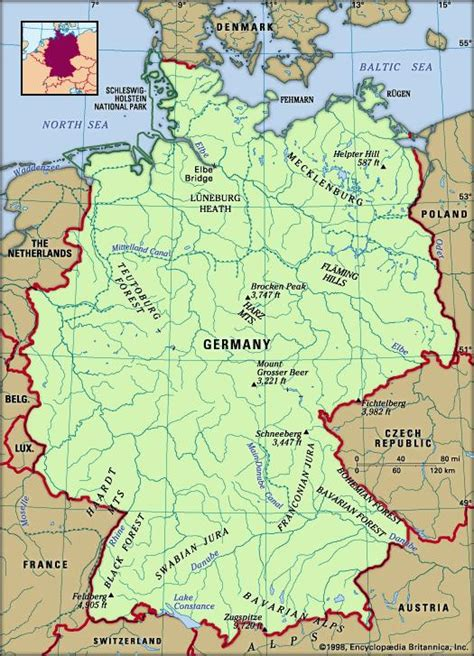 german physical map germany britannica