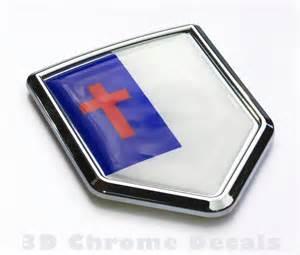 Christian flag emblem chrome crest decal sticker