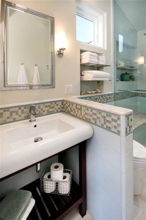 Bathroom Design San Francisco pony wall to make toilet private