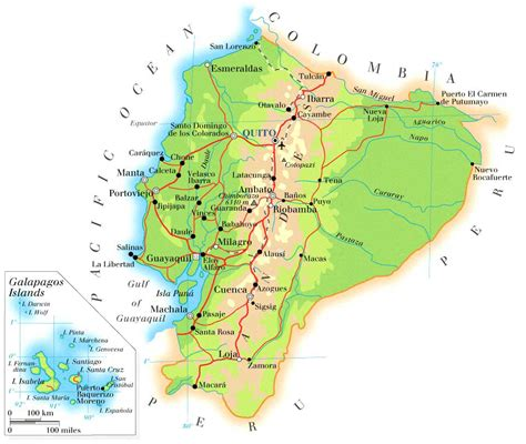 printable road map of ecuador detailed physical map of ecuador with roads ecuador