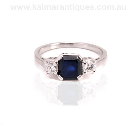deco engagement rings sapphire 1940 s deco sapphire and engagement ring