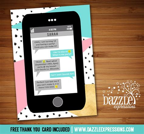 iphone birthday card template printable cell phone text message birthday invitation