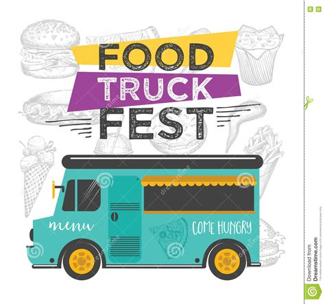 Food Truck Party Invitation Food Menu Template Design Food Fly Stock Vector Image 71331330 Food Truck Design Template