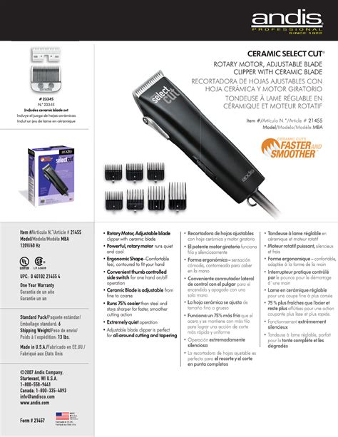 Andis Mba by Andis Company Hair Clippers Mba User Guide Manualsonline