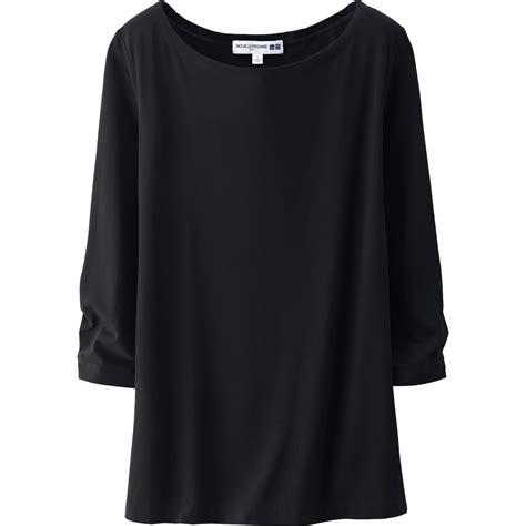 boat neck uniqlo uniqlo women idlf boat neck 3 4 sleeve t shirt in black lyst
