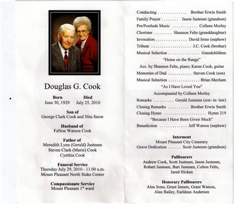 lds funeral program template mt pleasant obituary page july 2010
