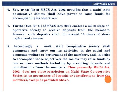 section 49 of the registration act acceptance of deposits by multi state co operative