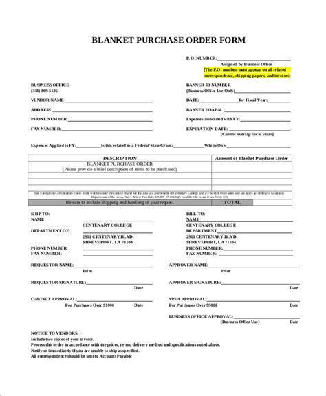 blanket purchase order agreement template sle purchase order form 11 exles in word pdf