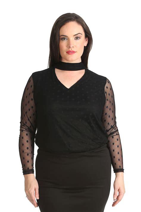 Blouse Big Size Motif Polka 2 new plus size top womens shirt v neck polka dot lace length nouvelle ebay