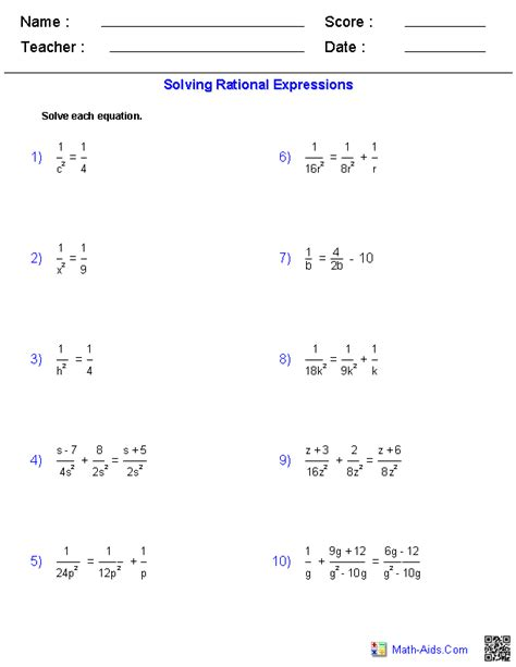 Simplifying Equations Worksheets by Algebra 1 Worksheets Rational Expressions Worksheets