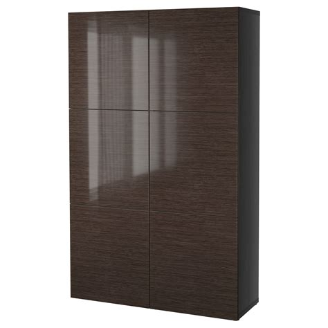 besta door best 197 storage combination with doors black brown selsviken