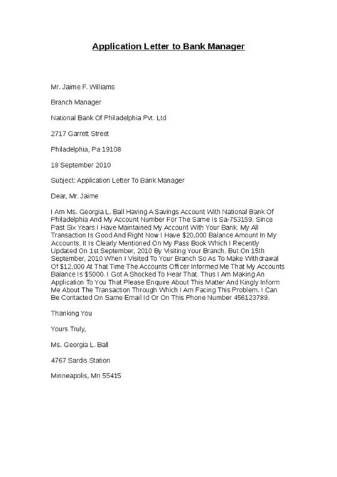 Bank Manager Letter To Customer Application Form Application Letter Bank