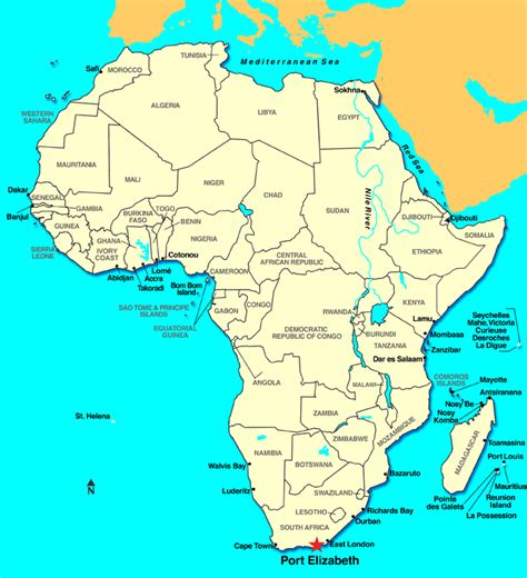 africa map sea port elizabeth south africa discount cruises last