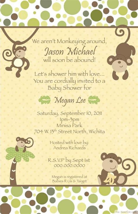 Printable Baby Shower Invitations For by Best 25 Baby Shower Monkey Ideas On Monkey