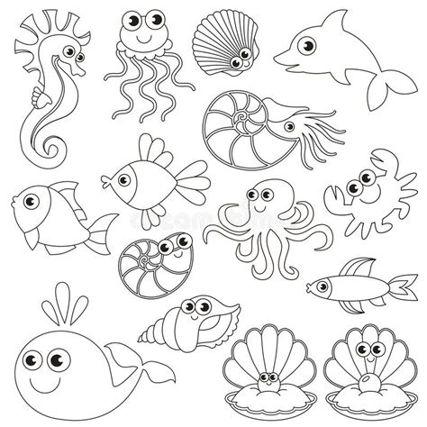 ocean coloring page education com sea underwater animals set the big page to be colored