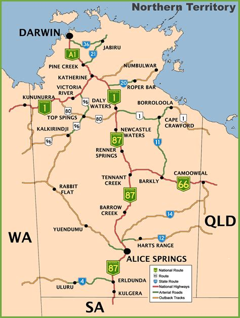 map of australia with territories northern territory road map