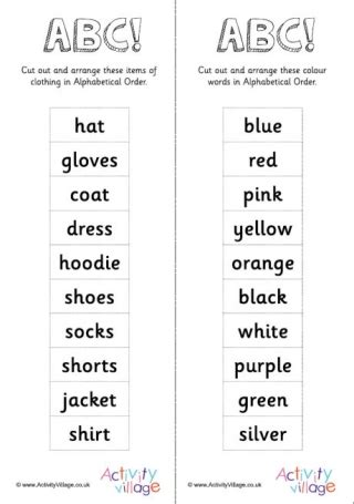 colors in alphabetical order colour worksheets