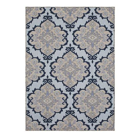 Outdoor Rug 10 X 10 Shop Allen Roth 2017 Outdoor Blue Indoor Outdoor Moroccan Area Rug Common 8 X 10 Actual 8